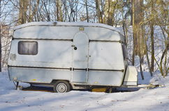 Old caravan in the winter, South Bohemia Stock Images