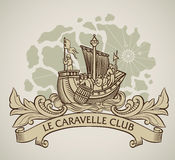 Old caravel vintage design. Vintage style design of a caravel on the background of old map and the curled banner on the front. Editable vector illustration Stock Photography