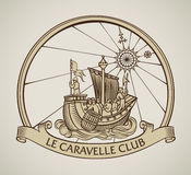 Old caravel vintage design. Vintage style design of a caravel on the old compass background and the curled banner on the front.. Editable vector illustration Royalty Free Stock Photo