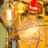 Old carbon light bulb Filament Stock Images