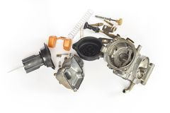 Old carburetor of motorcycle part disassembly. Stock Photos