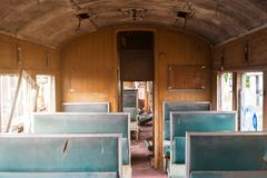 Old carcase in side train. For background show vintage Stock Photos