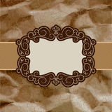 Old card design, brown vintage frame. EPS 8 Stock Photo