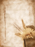 Old card with a flower. Old postcard, design in grunge and retro style Stock Photo