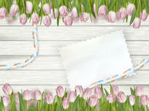 Old card and fresh tulips. EPS 10 Stock Images