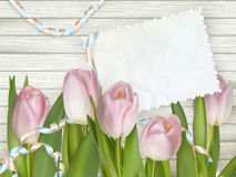 Old card and fresh tulips. EPS 10 Royalty Free Stock Photography