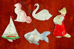 Old cardboard Christmas toys. The rustic style. The middle of th Stock Image