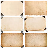 Old cardboard with corner, photo card, aged paper isolated. On white background Royalty Free Stock Photos