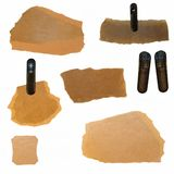 Old Cardboard Scraps and plastic clamp Royalty Free Stock Photography
