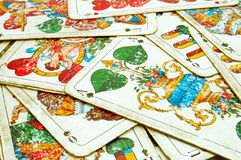 Old cards. Old dirty playing cards closeup Stock Images