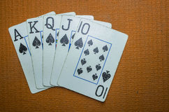 Old Cards Showing a Royal Flush royalty free stock photo