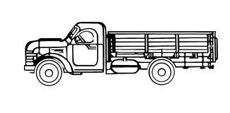 Old cargo car. Vector silhouette of the old cargo car Royalty Free Stock Photography