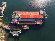 Old cargo vessels from above stock photo