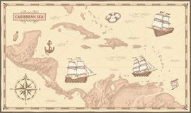 Old caribbean sea map. Ancient pirate routes, fantasy sea pirates ships and vintage pirate maps vector concept vector illustration