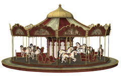 Old carousel. 3D render of an old carousel with horses Stock Photos