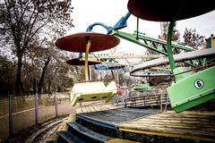Old Carousel in dendro park, Kropyvnytskyi, Ukraine. Old Carousel in dendro park, Kropyvnytskyi Kirovograd, Ukraine. It was built in 80`s and now it can be used Royalty Free Stock Image