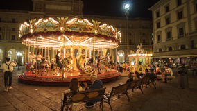 Old carousel with horses in Florence piazza Repubblica Royalty Free Stock Images
