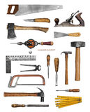 Old carpenter hand tools. Set collection isolated on white Stock Photos