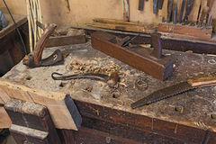 Old carpenter's bench Royalty Free Stock Images
