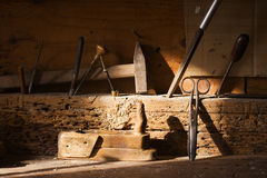 Old carpenter's tools Stock Photos