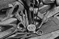 Old carpenter's tools for working with wood Royalty Free Stock Images
