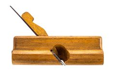 Old carpenter tool wood Plane on a white. Background Stock Image