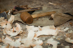 Old carpenter tools Royalty Free Stock Photography