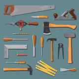 Old carpenter tools vector set Royalty Free Stock Image