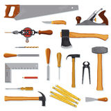 Old carpenter tools on white. Old carpenter tools vector collection on white vector illustration