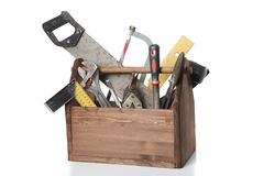 Old Carpenter Wooden toolbox with tools isolated on white Royalty Free Stock Image