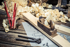 Old carpenters table in a workshop royalty free stock photo