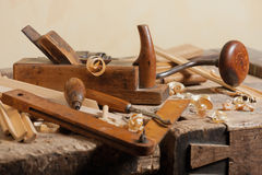 Old carpenters tool. Set of carpenters tool at carpenters workshop royalty free stock photos