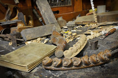 Old carpentery. Woodworking tools of antique carpentry Stock Photo