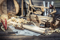 Old carpentry workshop with tools Stock Images