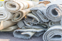 Old carpet rolls Stock Photography
