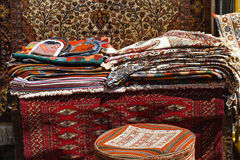 Old carpet. In street market stock photography
