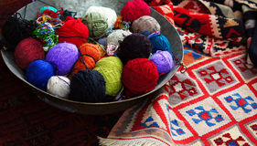 Old carpets in the street market Royalty Free Stock Photo