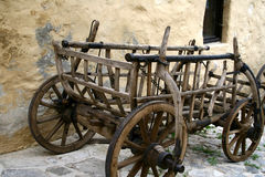 Old carriage. Old wooden cart in ghosttown Stock Photography