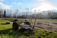 Old carriage in the country. Natural environmental detail view in latvia Royalty Free Stock Photography