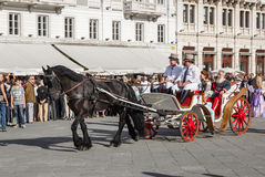 Old carriage during a historical re-enactment in Trieste Royalty Free Stock Image
