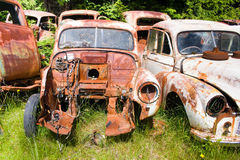 Old Cars. On one of New Zealand car yards not far from mount Ruapehu stock photos