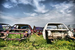 Old cars. On the meadow Stock Photo