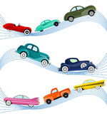 Old cars. Set of old cars illustration vector Stock Image