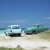 Old cars. At Playa del Este, Havana Province, Cuba Royalty Free Stock Image