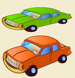 Old cars. Two old sedan in green and orange color Stock Image