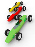 Old cars. Three old fashioned cars in green red and yellow Royalty Free Stock Image