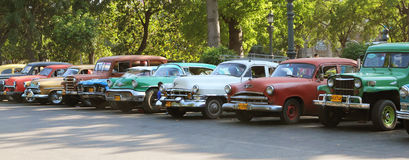 Old Cars. Line of old cars n a parking lot in Royalty Free Stock Photos