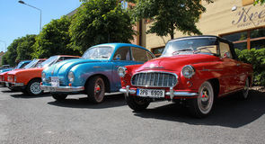 Old cars. Skoda, tatra in the square in the czech republic Royalty Free Stock Image
