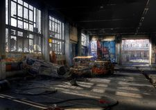Old cars in an abandoned hall Stock Photos