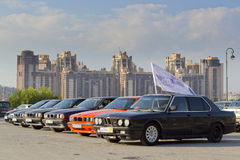 Old cars BMW. The gathering of the Amateurs of automobiles BMW years 1980-2005 Stock Photo